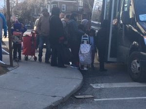 boarding the shuttle to get groceries in Parkdale - no supermarkets open