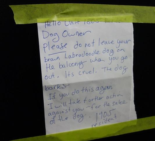 note left on door of barking dog owner
