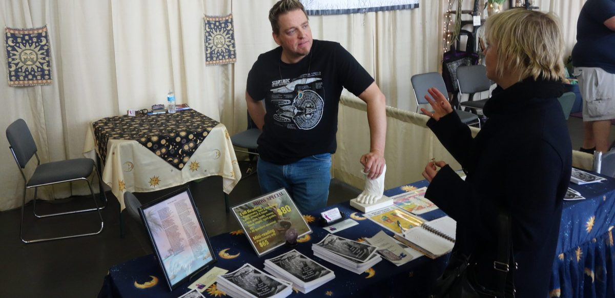 A gifted psychic vendor at 2017 mystics and seers exposition in Toronto