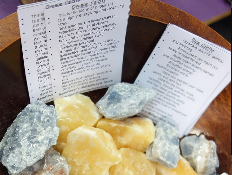 Organic calcite in various colours is good for calming rooms