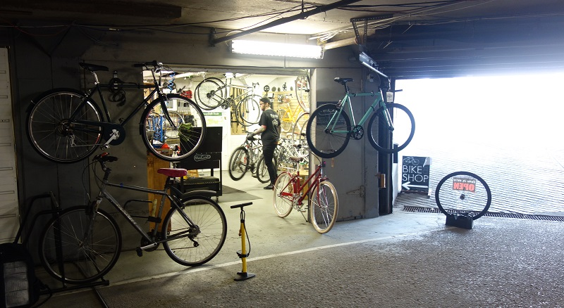 Gordon at work in MetroCycyleTO subterreanean bike shop on Queen St W
