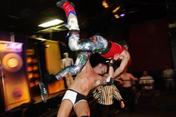 Hogtown Wrestling highfall at Lees Palace