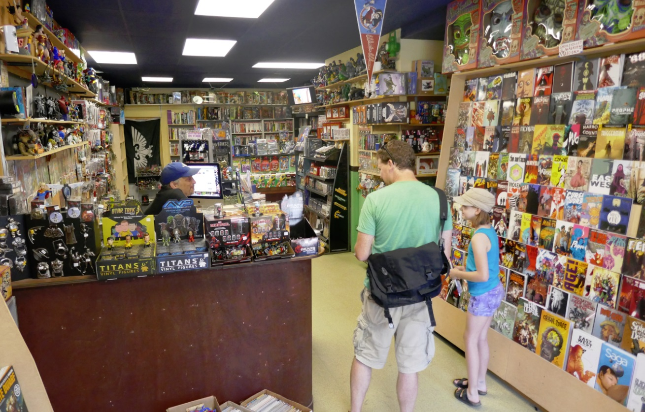 Inside the West Side Comic store on Queen St W