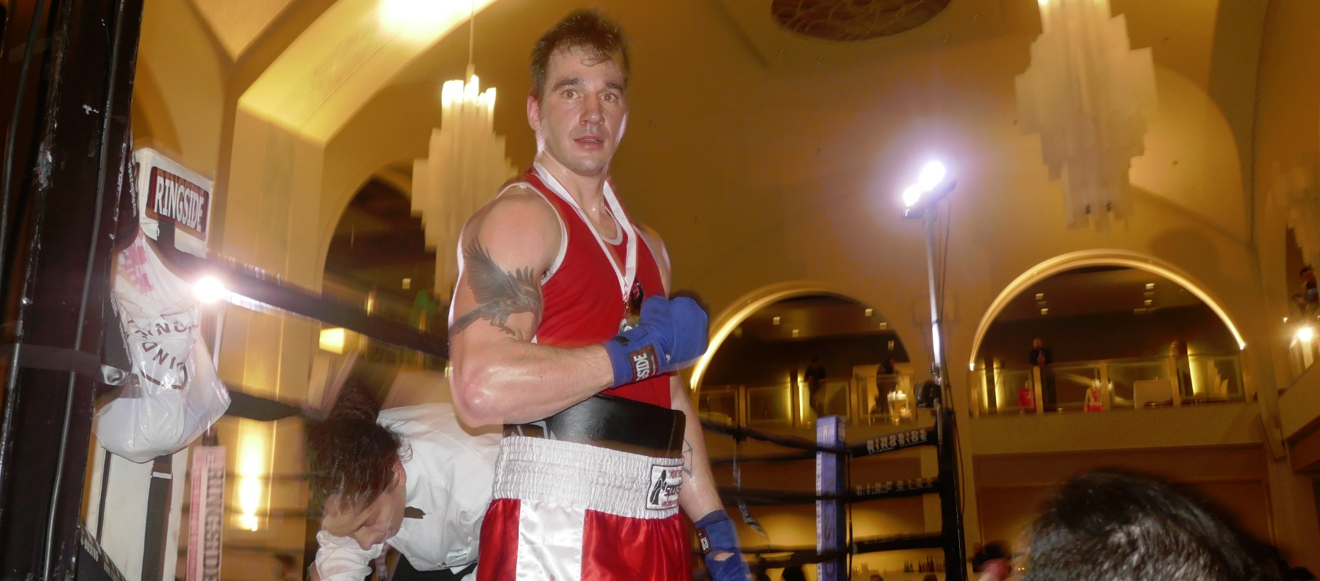 red shirt boxer after the match