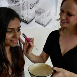 Christinja Paruag gets an egg whiote powder beauty mask from Jen Turner of Modern Makeup