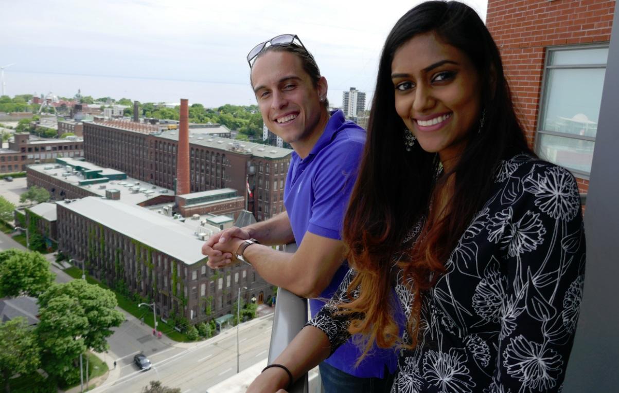 Martin Dasko with Christina Paruag on balcony - King and Dufferin, Toronto
