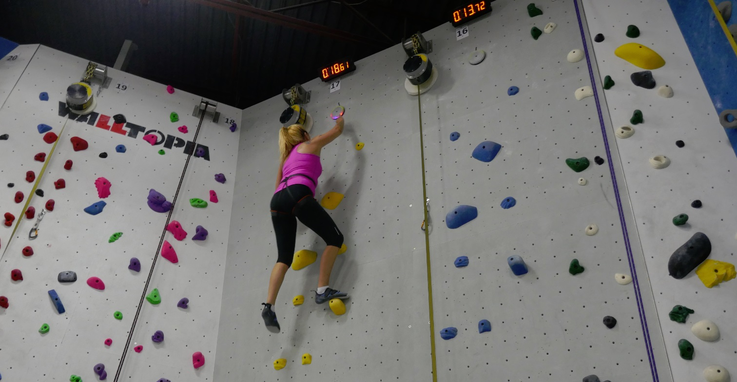 raymi climbing for speed on the Speed Wall Climbing attraction at Hub Markham